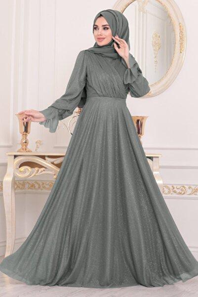 Neva Style Kadın Füme Tesettürlü Abiye Elbiseler - Tesettür Abiye Elbise 22202fu