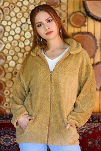 Lukas Kadın Camel Fermuarlı Peluş Mont  - 4462.1153. - Z.d