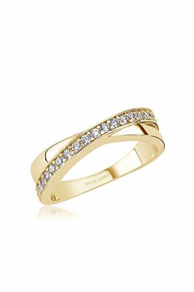 Valori Jewels Çapraz, Swarovski Zirkon Beyaz Taşlı, Altın Rengi Gümüş Yüzük