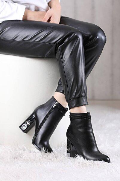VİVA Kadın Siyah Topuğu Taşlı Bot