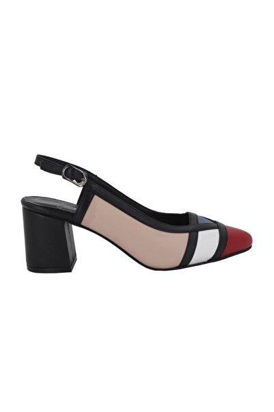 Hobby Kadın Siyah Deri Topuklu Yazlık Kadın Ayakkabı 0075