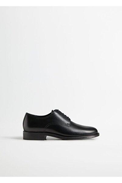 MANGO Man Erkek Siyah Siyah Deri Blucher Ayakkabı  77010002