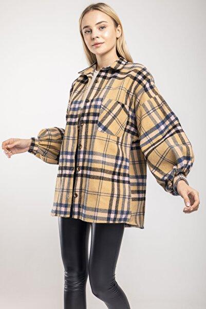 MD trend Kadın Bej Balon Kol Ekose Oversize Ceket Gömlek