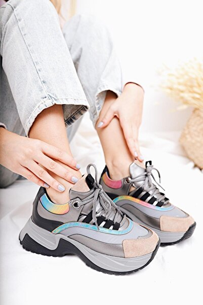 Limoya Kadın Chiera Platin Gökkuşağı Hologram Kalın Tabanlı Sneakers