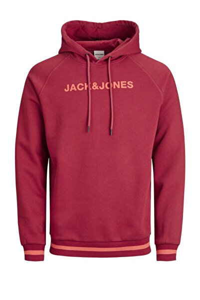Jack & Jones Erkek Pembe Jcoclean Sweat Hood Fst Sweatshirt