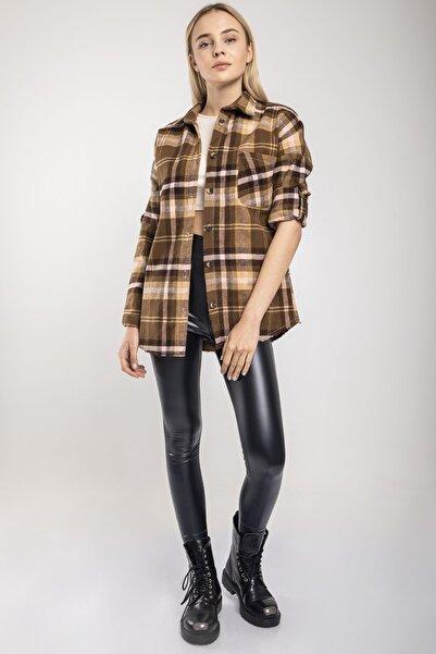 MD trend Kadın Kahve Ekose Oversize Oduncu Ceket Gömlek
