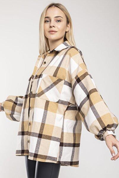 MD trend Kadın Ekru Balon Kol Ekose Oversize Ceket Gömlek