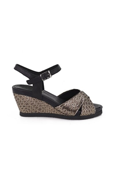 Venüs Kadın Siyah Altın Deri Dolgu Topuk Sandalet 763503