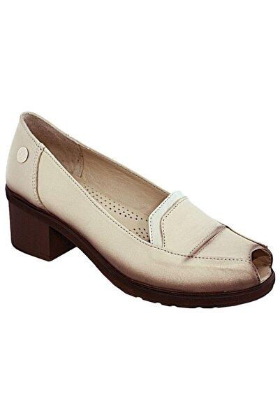 Mammamia Kadın Bej Deri Burnu Açık Topuklu Ayakkabı