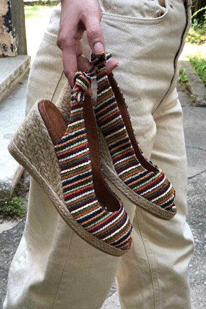 Cudo Kadın Alex Karışık Renkli Dolgu Topuk  Sandalet