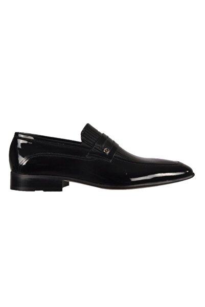 Fosco Erkek Siyah Rugan  Hakiki Deri Klasik Ayakkabı