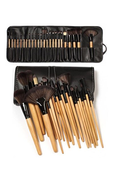 Makeuptime 24'lü Profesyonel Deri Çantalı Bambu Fırça Seti & Professional Leather Bag Bamboo Brush Set