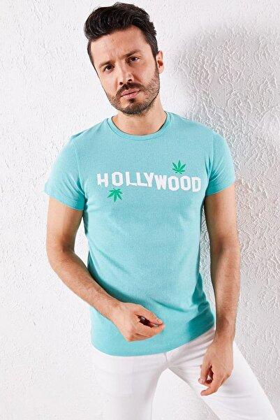 Zafoni Erkek Turkuaz Hollyweed Baskılı Mint T-shirt