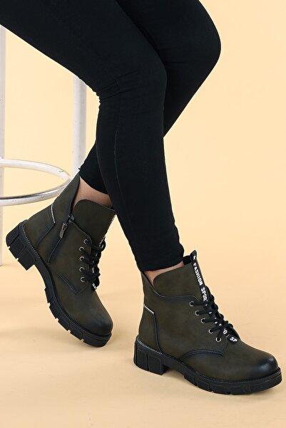 Ayakland Kadın Haki Fermuarlı Bot Ayakkabı