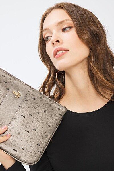 Deri Company Kadın Gümüş Basic Monogram Desenli Şeritli Logolu Clutch Çanta 214002