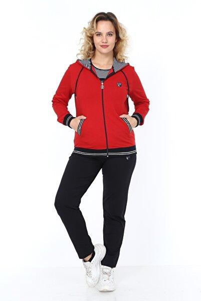 Heves Giyim Kadın Büyük Beden Marin Desenli Kırmızı Eşofman Takım