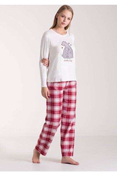 Kom Carina Kadın Kırmızı Beyaz Pijama Takımı