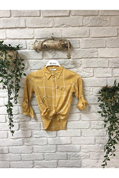 nk kids Kadın Nk Begins Pullu Yazılı Kareli Gömlek