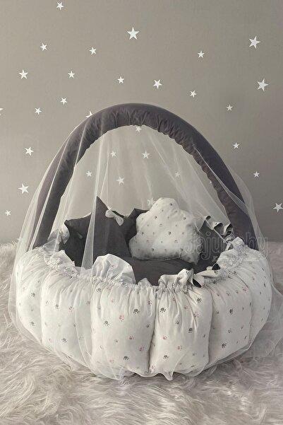 Jaju Baby Sevimli Patiler Açılır - Kapanır Oyun Minderi Cibinlik Aparatlı Babynest