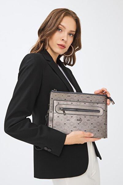 Deri Company Kadın Gümüş Siyah Monogram Desen Clutch Basic Çanta 4034g 214031