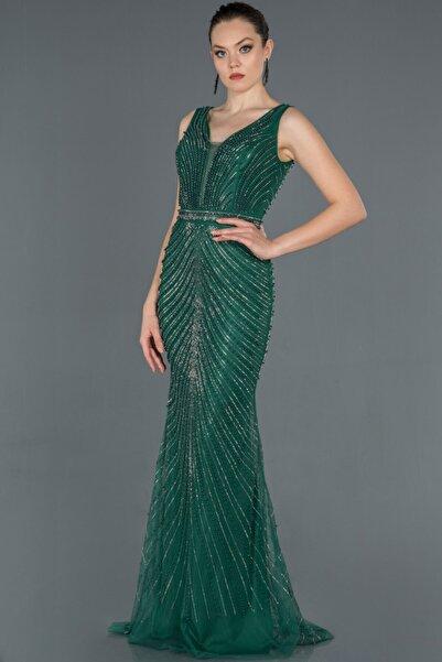 Abiyefon Kadın Zümrüt Yeşili Taş Işlemeli Kolsuz Abiye Elbise