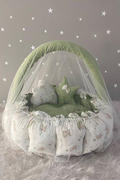 Jaju Baby Sevimli Ayıcık Yeşil Açılır - Kapanır Oyun Minderi Cibinlik Aparatlı Babynest
