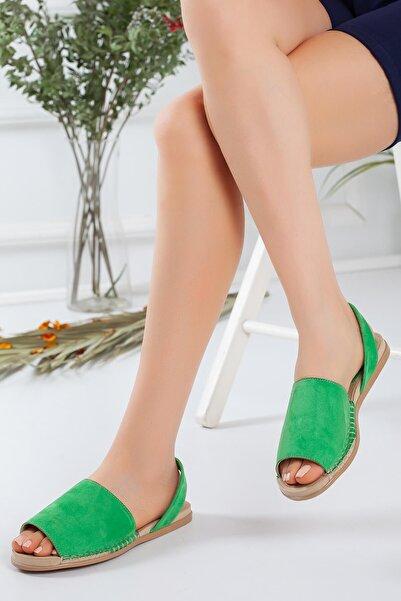 Derbars Kadın  Yeşil Süet Sandalet