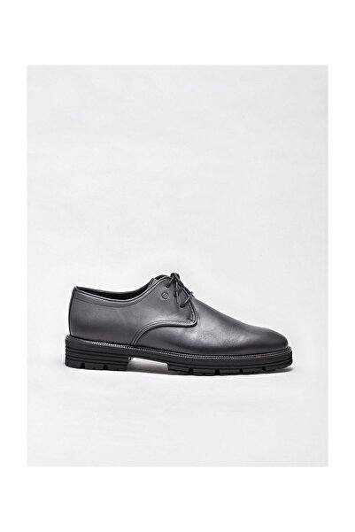 Elle Shoes Antrasıt Deri Erkek Klasik Ayakkabı