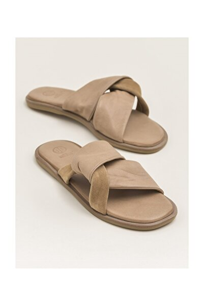 Elle Shoes DARIYEL Hakiki Deri Naturel Kadın Terlik 20YLT102061