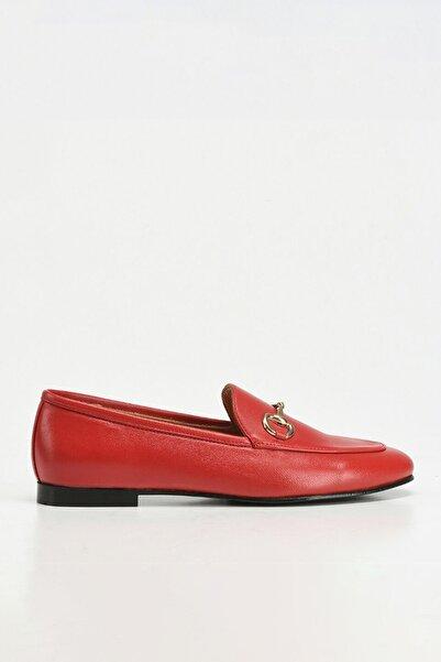 Hotiç Hakiki Deri Kırmızı Kadın Loafer