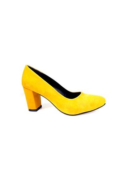 Nilay Kadın Sarı Süet Topuklu Ayakkabı
