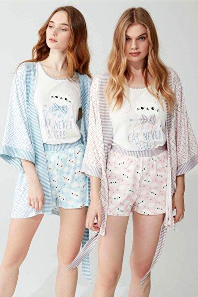 Feyza Pijama Kadın Mavi Sabahlıklı Şortlu Üçlü Takım