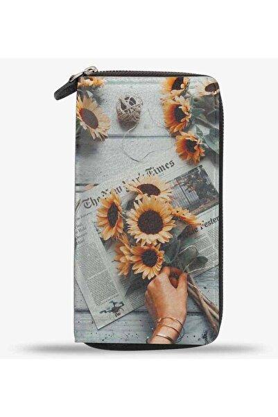 Anı Yüzük Unisex Sunset Flower Ayçiçek Baskılı Cep Telefonu Bölmeli Hakiki Deri Cüzdan