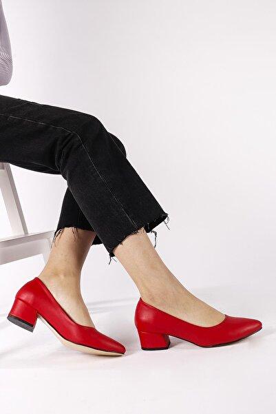 Moda Eleysa Kadın Kırmızı Topuklu Ayakkabı