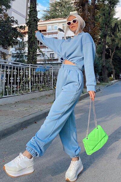 SwistLuxury Kadın Mavi Kapüşonlu İçi Pamuklu 3 İplik Eşofman Takımı 40011