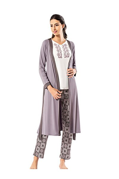 Şahinler Kadın Mürdüm Sabahlıklı Pijama Takımı
