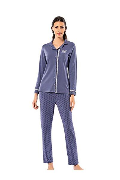 Şahinler Kadın Lila Önden Düğmeli Desenli Pijama Takım