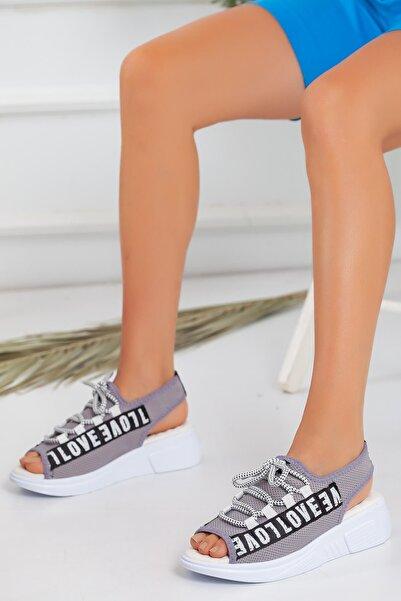 Derbars Kadın Love Gri Sandalet