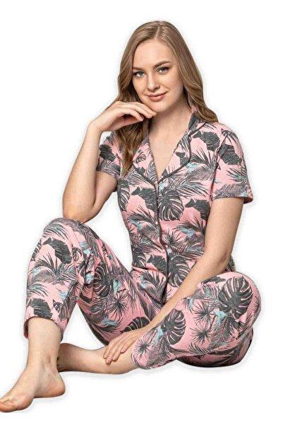 Sude Kadın Pembe Kısa Kollu Gömlek Pijama Takımı 2020