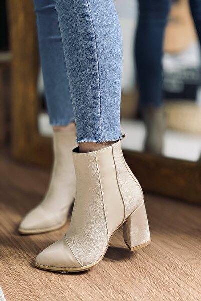 Mida Shoes Kadın Vizon Süet Yarım Çizme
