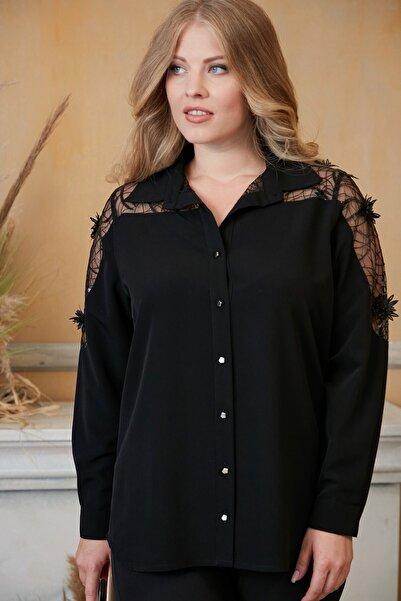 RMG Kadın Siyah Omuzları Dantel Detaylı Büyük Beden Gömlek