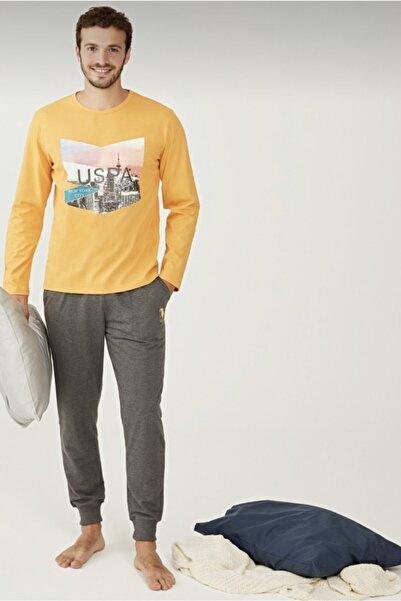 U.S POLO Erkek Sarı Yuvarlak Yaka Pijama Takımı 18230