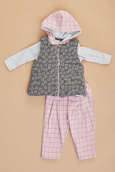 Fulla Moda Kız Bebek Pembe Kalp Baskılı Yelekli Takım