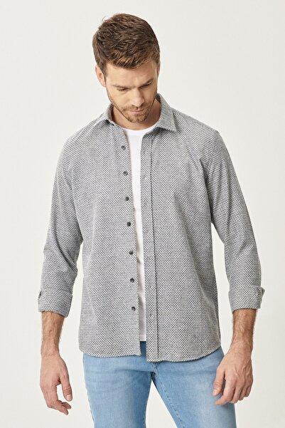 ALTINYILDIZ CLASSICS Tailored Slim Fit Dar Kesim Klasik Gömlek Yaka Desenli Flanel Kışlık Gömlek