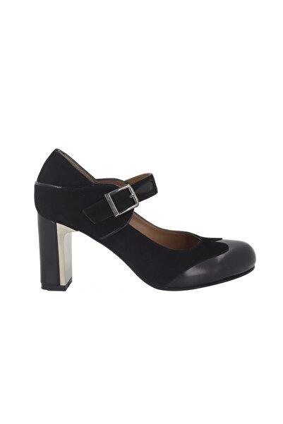 Hobby Kadın Siyah Deri Topuklu Ayakkabı 277