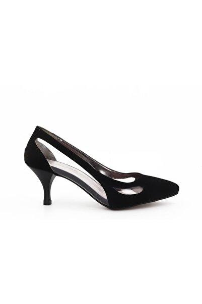Hobby Kadın Siyah Süet Stiletto Ayakkabı 668