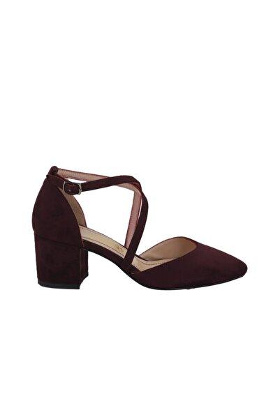 Hobby Kadın Bordo Süet Stiletto Ayakkabı 530