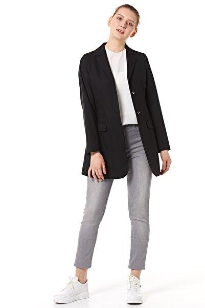 Nihan Kadın Siyah Uzun Ceket