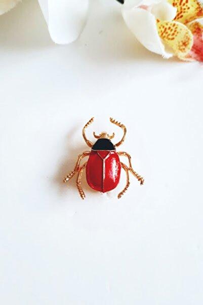 PETEK AKSESUAR Kırmızı Böcek Broş Yaka Iğnesi