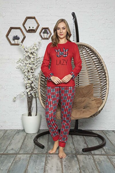 Kompedan Kadın Kırmızı Desenli Polar Pijama Takımı Rnd 5805